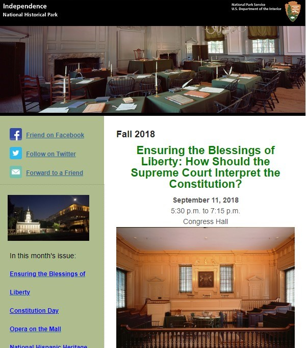Park Newsletter from Fall 2018, shows image of the Supreme Court Chamber inside Independence Hall.