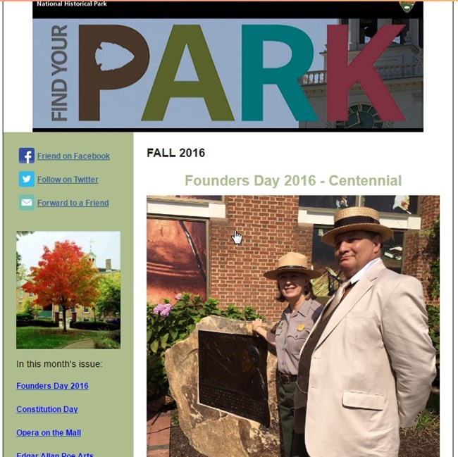 Park Newsletter from Fall 2016, shows image of two park employees, one in uniform, another in costume portraying Franklin Lane, first Secretary of the Interior.