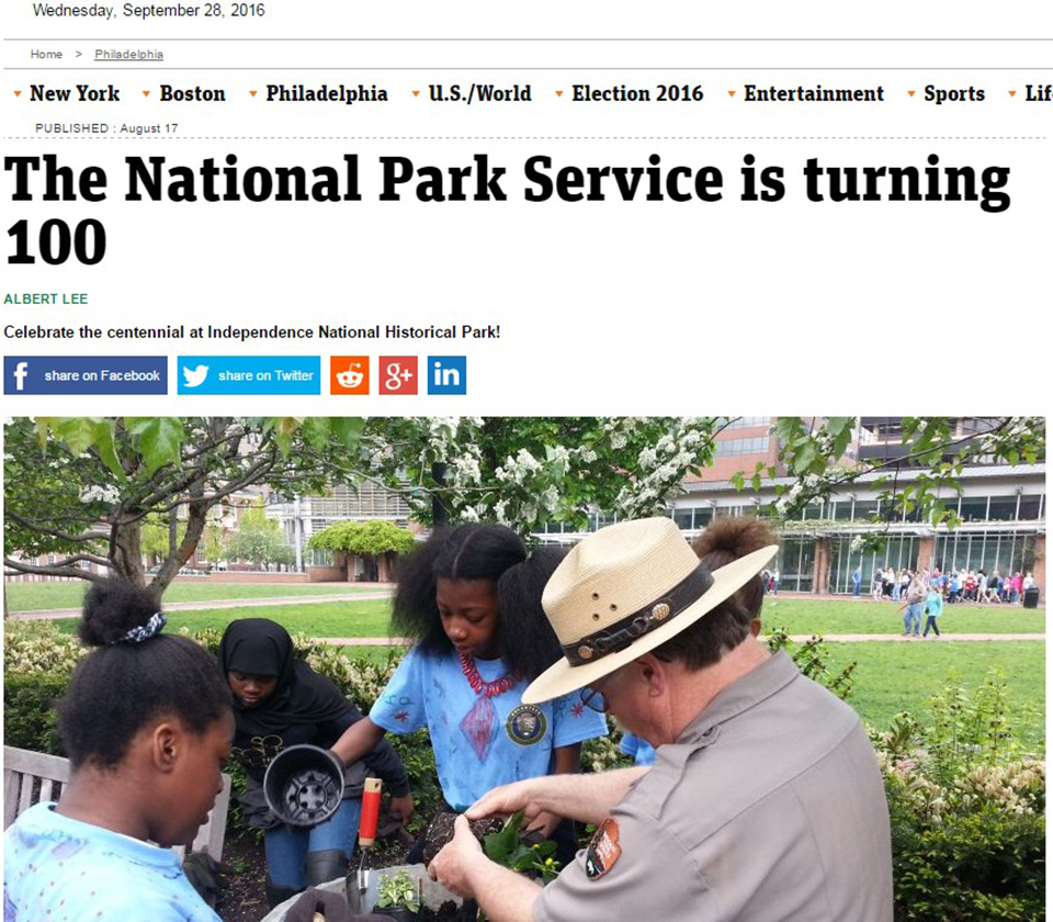 News story about the park with headline on the National Park Service 100th birthday.