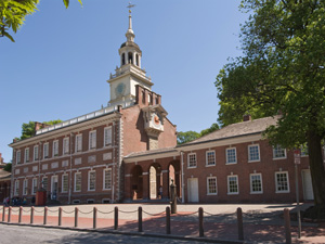 North facade of Independence Hall, showing the clock on the west side of the building, and the bell tower.