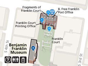 Screen shot of the mobile app map showing a detail of the illustrated buildings in the Franklin Court complex.