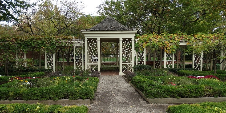 Color photo of white gazebo behind a row of raised flowerbeds.