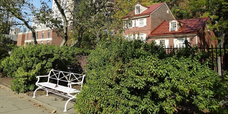Color photo showing white bench surrounded by foliage with brick homes in the background.