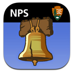 Icon for NPS Independence mobile app featuring an illustration of the Liberty Bell against a blue background.