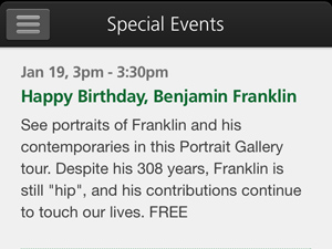 Screen shot of the Special Events listing on the NPS Independence Mobile app.