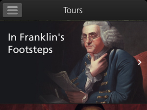 "Screen shot of mobile app tours listing with the words ""In Franklin's Footsteps"" next to an image of Benjamin Franklin."