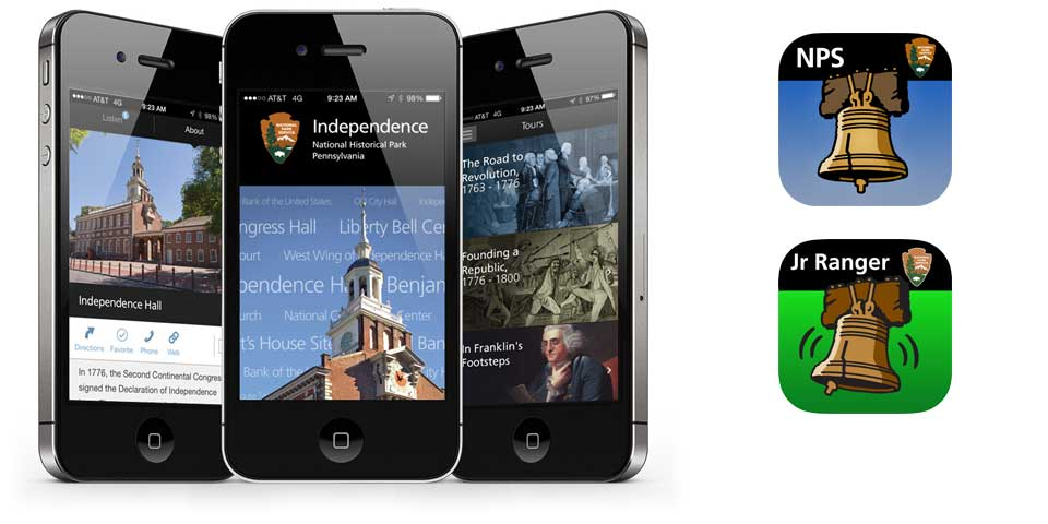 Color image of three iPhones displaying the park's mobile app, and the app icons for the main app and Junior Ranger app.
