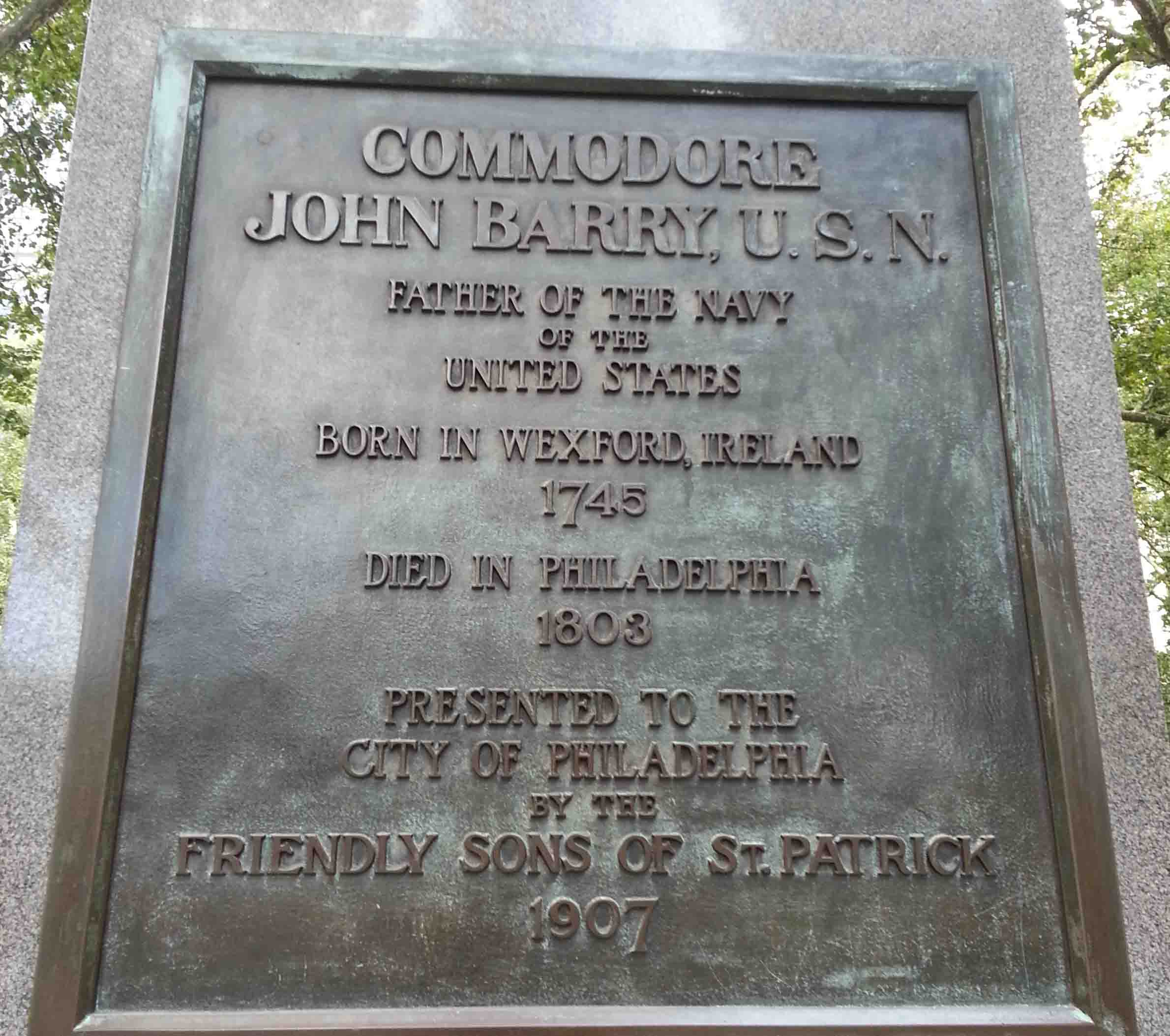 Plaque on the north side of the Barry Statue in Independence Square