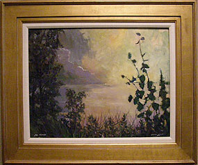 painting of storm over lake with clouds and trees in foreground