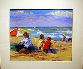 colorful painting of kids on a beach next to an unbrella