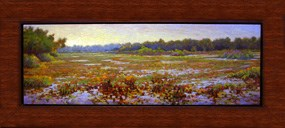 "Painting of Long Lake. Original artwork is 9 1/2"" X 29"" plus 3"" wood frame. This painting is now part of the national lakeshore's artist-in-residence art collection."