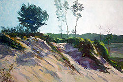 painting of sand dunes with trees on top