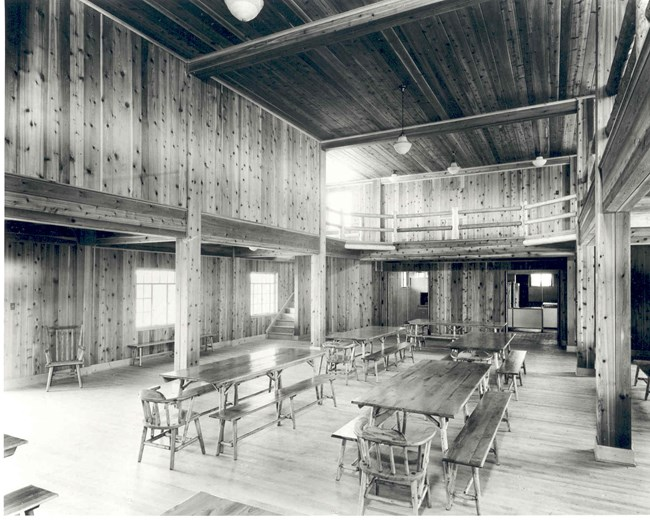 Picture of the cedar interior of the main lodge of Good Fellow.