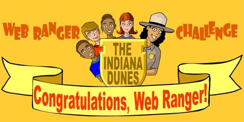 colorful graphic with kids faces looking over a banner with the words Congratulations, Web Ranger on it