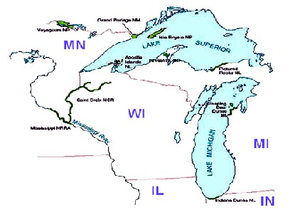 map showing location of parks in the Great Lakes Research and Education Center network