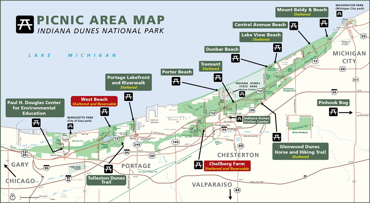 Picnic Area Map of Indiana Dunes National Park