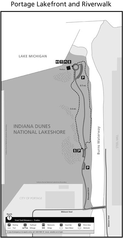 Portage Lakefront Riverwalk Trail Map