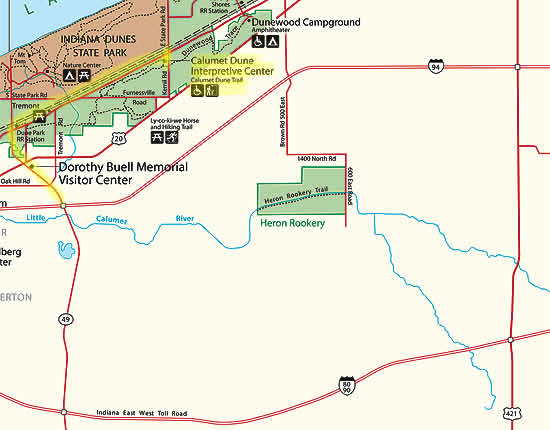 map with route to the Calument Dune Interpretive Center highlighted