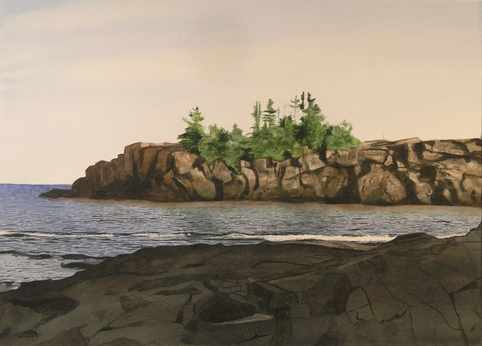 A watercolor painting of Scoville Point and Bay by artist Clyde Mikkola