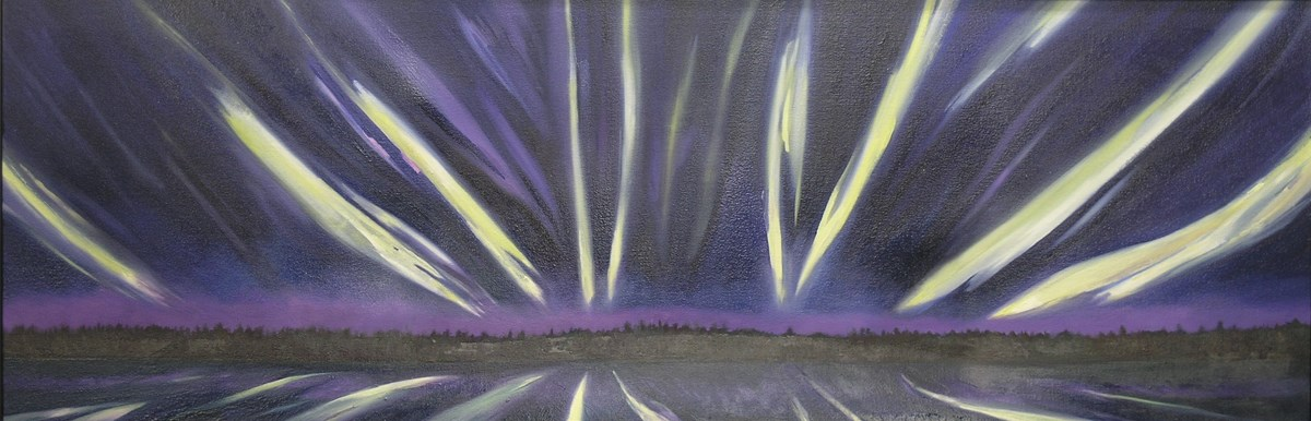 Painting of the northern lights over Isle Royale National Park.