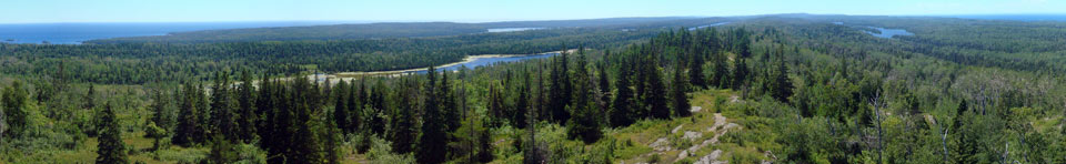 A mid-afternoon veiw down the expanse of Isle Royale National Park.  Photo taken from the Mount Ojibway Fire Tower.