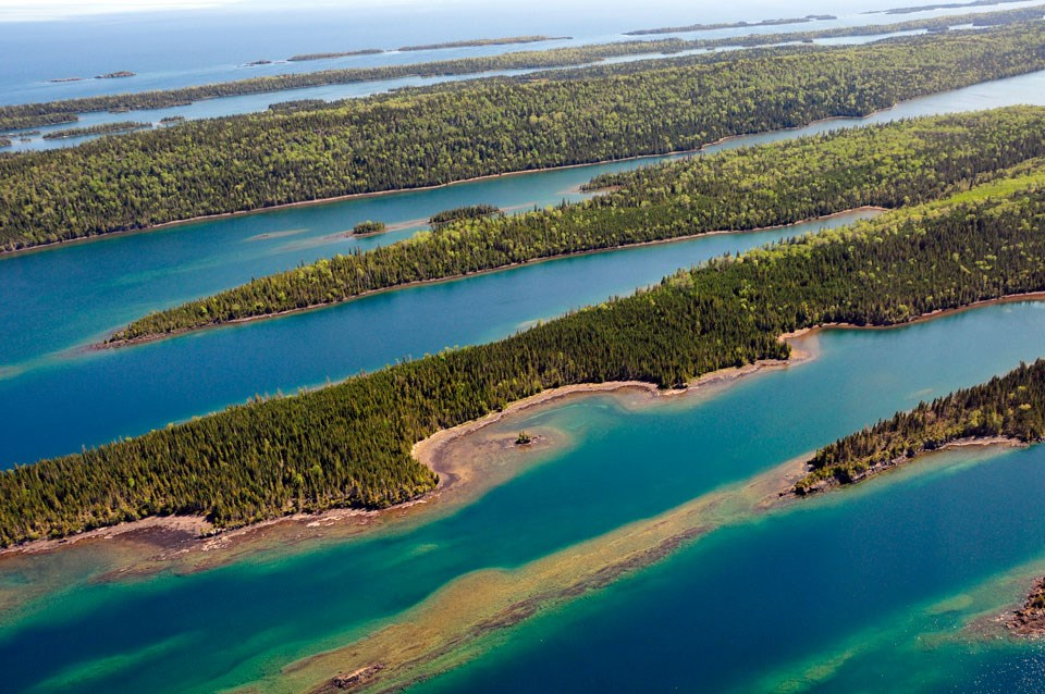 Aerial photo of Lock Point, Isle Royale, showing bays of Lake Superior and peninsulas of land.