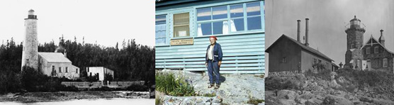 Photo Collage: Right Photo: historic Rock Harbor Lighthouse image, Center Photo: Elizabeth Kemmer standing in front of a cabin, Left Photo:  Historic Passage Island Lighthouse image