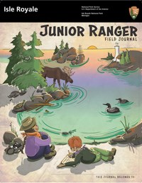 Front page of Isle Royale's Junior Ranger Book showing two kids sitting on a shoreline overlooking a loon, moose, and a lighthouse.