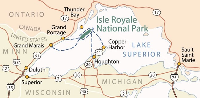 Map of Isle Royale National Park showing its location in Lake Superior and the regional area.
