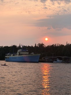 Ranger III ferry docked with sunset