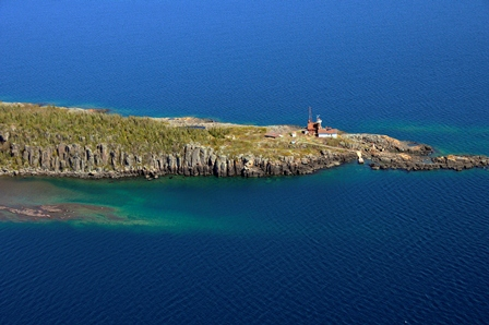 Aerial view of Passage Island Lighthouse