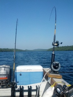 Trolling for fish in Lake Superior.