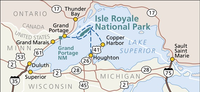 Thunder Bay Michigan Map.Directions Transportation Isle Royale National Park U S