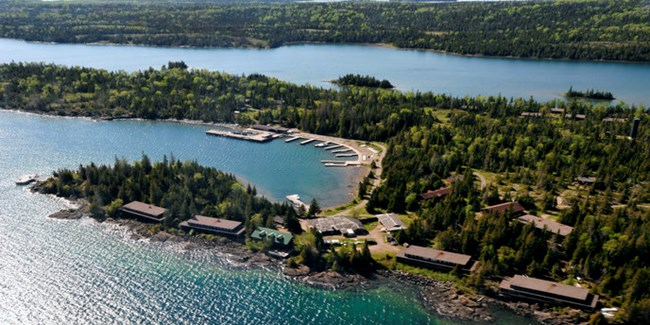 View of the Rock Harbor Lodge complex from the air.