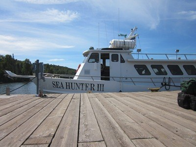 Seahunter III passenger ferry moored to the docked at Windigo