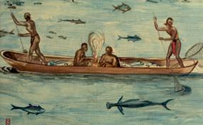 NPS artist Sydney King's interpretation of a 16th-century John White painting of Tidewater Indians fishing