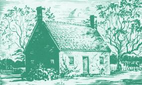 pen and ink sketch by NPS artist Sydney King of a 1640s brick house at Jamestown