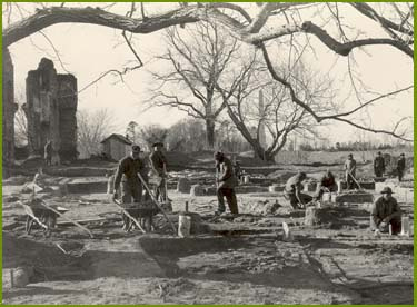Civilian Conservation Corps workers excavate near the Ambler Mansion at Jamestown in 1935