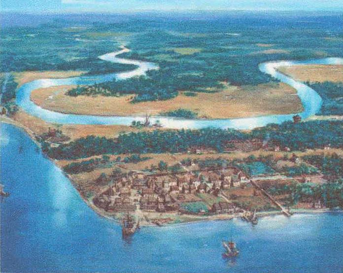 Artist concept of 17th Century Jamestown from an aerial view