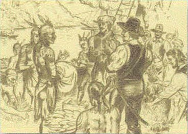 an encounter between Virginia Indians and English settlers