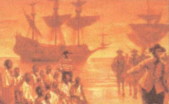Image depicting the arrival of the first Africans to English North America