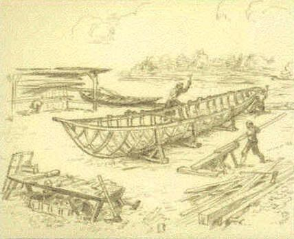 Artist sketch of English settlers building a boat
