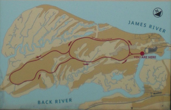 Map of Jamestown Island showing the Island Drive.