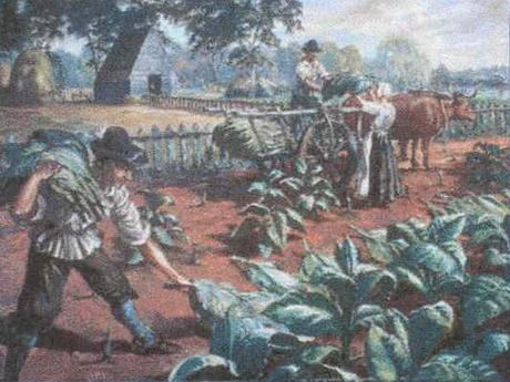 Sidney King Painting of English settlers harvesting tobacco