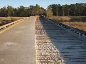 The Westbound lane of the Colonial Parkway on Powhatan Creek Bridge being prepped for concrete.