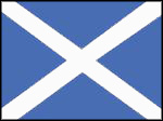 Scottish National flag in 1606: white diagonal cross on a blue background