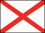 Irish National flag: red diagonal cross on a white background