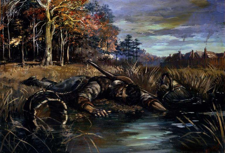 Jamestown's swampy environs claim yet another victim in this painting by NPS artist Sydney King