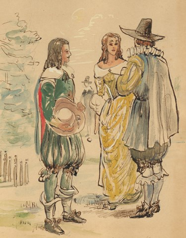 NPS artist Sydney King's watercolor of a lady and gentlemen from 1650s Jamestown