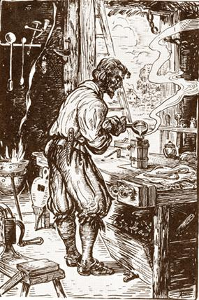17th-century pewtersmith making spoons